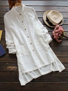 Dip Hem Long Shirt With Pockets
