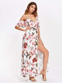 Botanical Print High Slit Tie Waist Dress