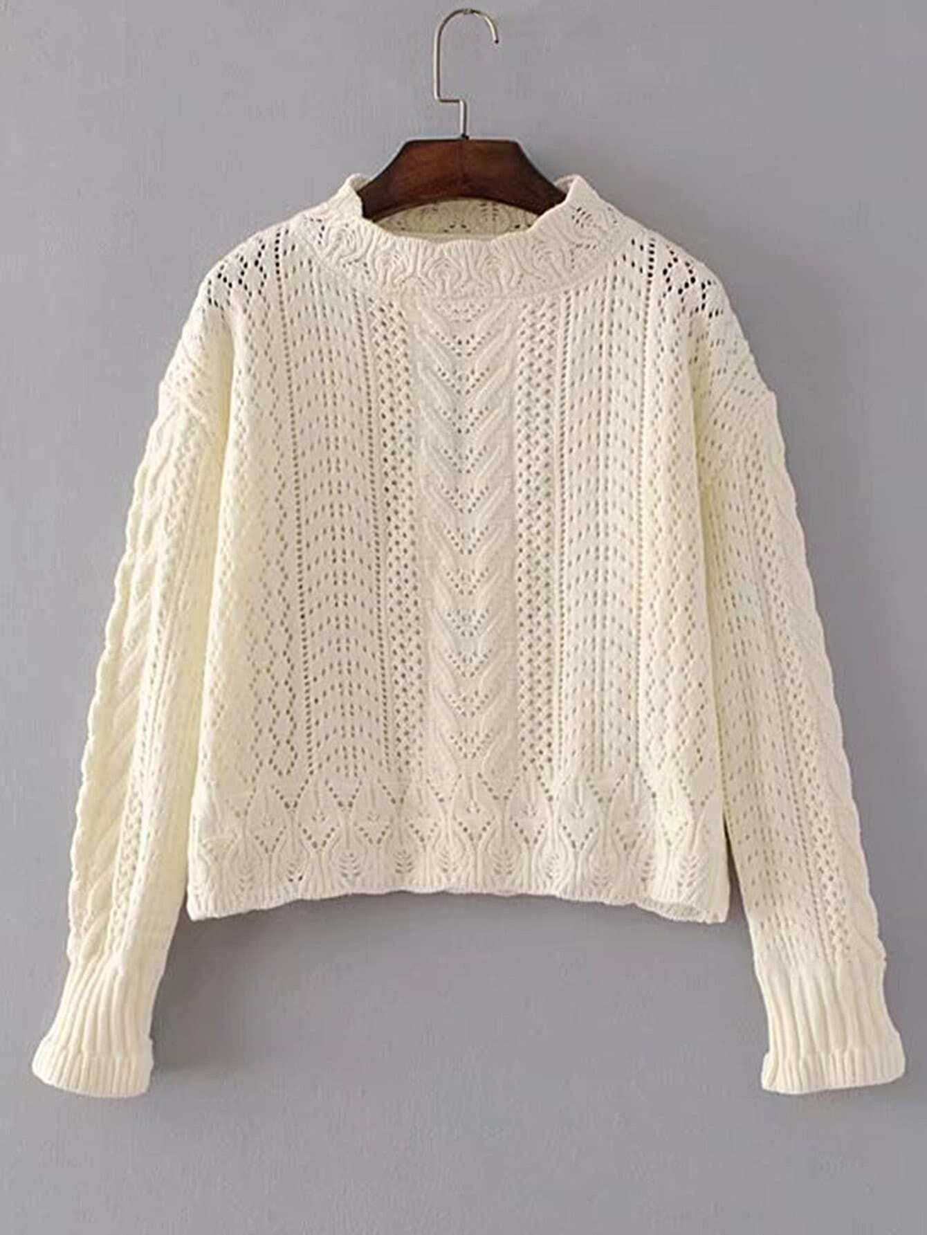 Hollow Out Cable Knit Sweater RKNI170728204