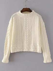 Hollow Out Cable Knit Sweater