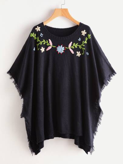Flower Embroidered Frayed Edge Poncho Jumper