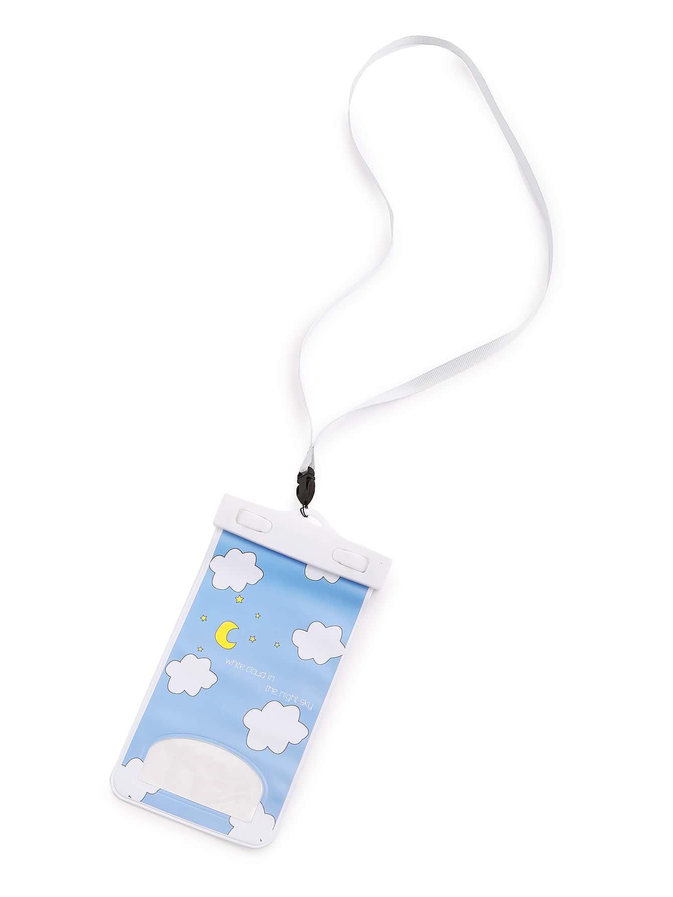 Clouds & Moon Print Waterproof Phone Bag