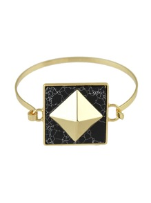 Black Color Bohemian Style White Black Marble Bracelet
