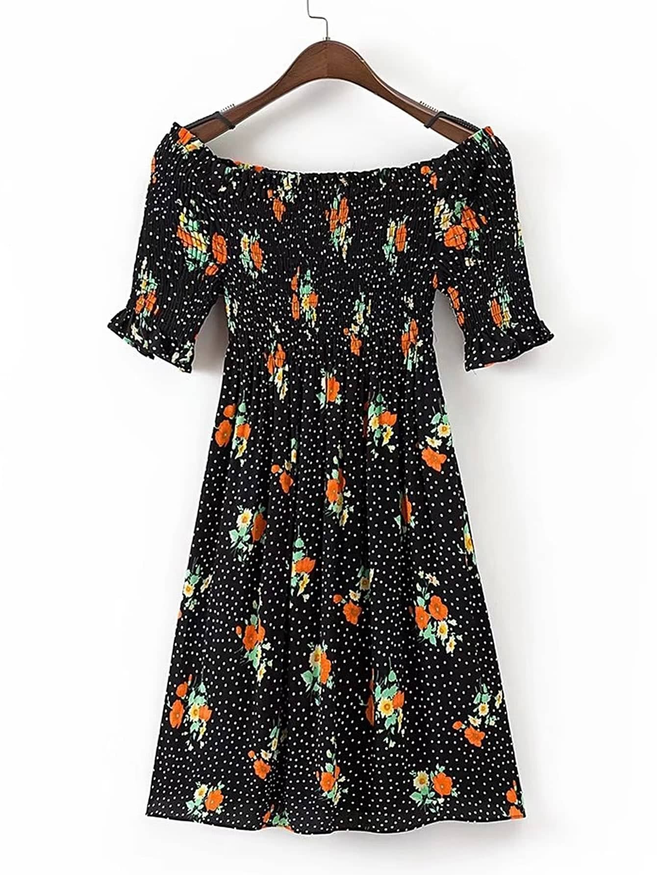 Фото Boat Neckline Shirred Detail Polka Dot Dress. Купить с доставкой