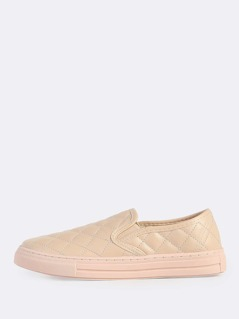 Diamond Cushion Pattern Slide On Sneakers NUDE