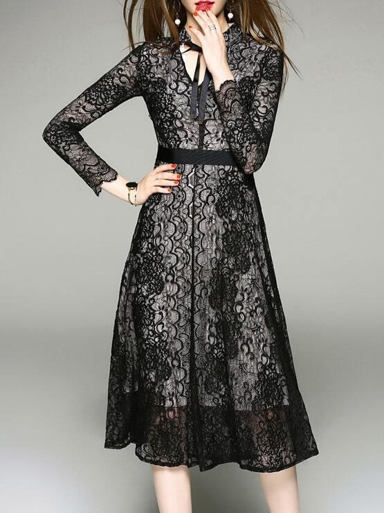 Фото Tie Neck Lace A-Line Dress. Купить с доставкой