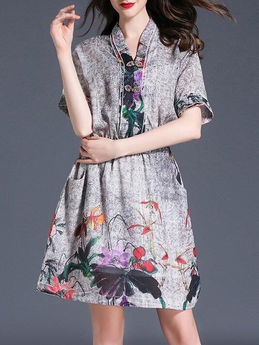 Фото V Neck Elastic-Waist Print Dress. Купить с доставкой