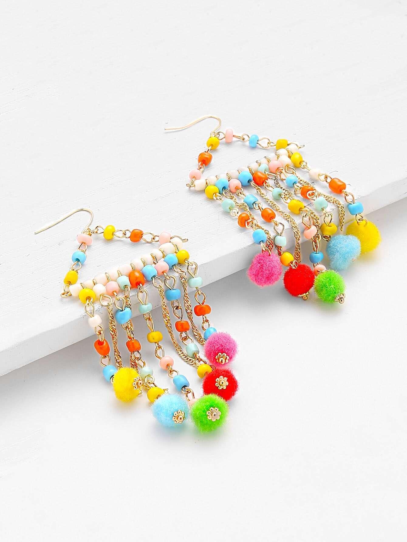 boucles d 39 oreille avec des perles et des pompons french shein sheinside. Black Bedroom Furniture Sets. Home Design Ideas