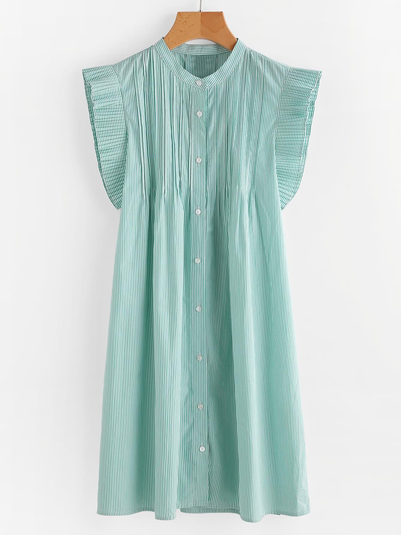 Vertical Striped Frill Trim Shirt Dress frill trim shirt