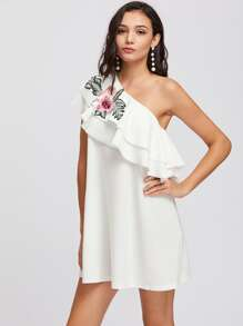 Embroidered Flower Patch Layered Flounce One Shoulder Dress