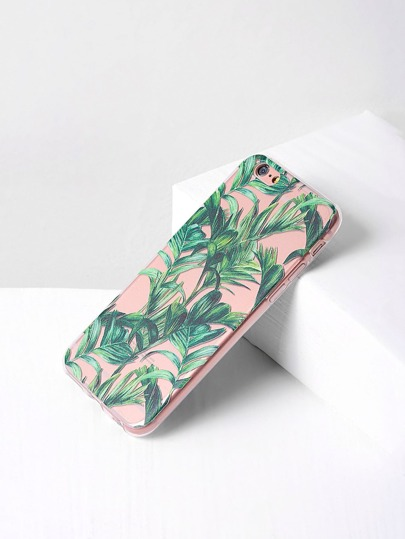 Green Leaf Print Clear iPhone Case