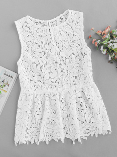 Hollow Out Lace Peplum Shell Top