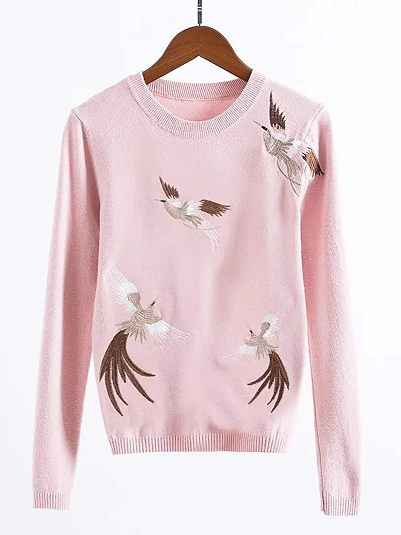 Cranes Embroidery Ribbed Trim Knitwear sweater170718201