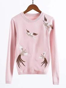 Maglione con ricamo di cranes