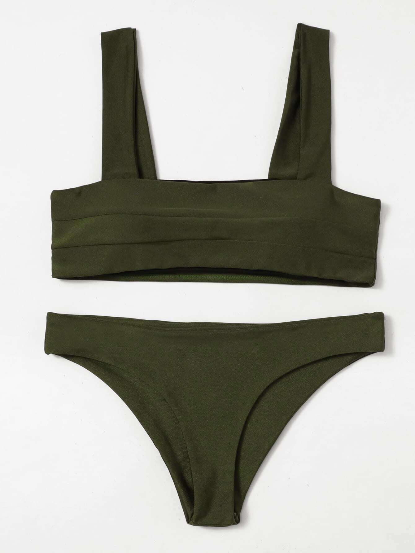 Фото Double Wide Strap Bikini Set checker knot bikini set