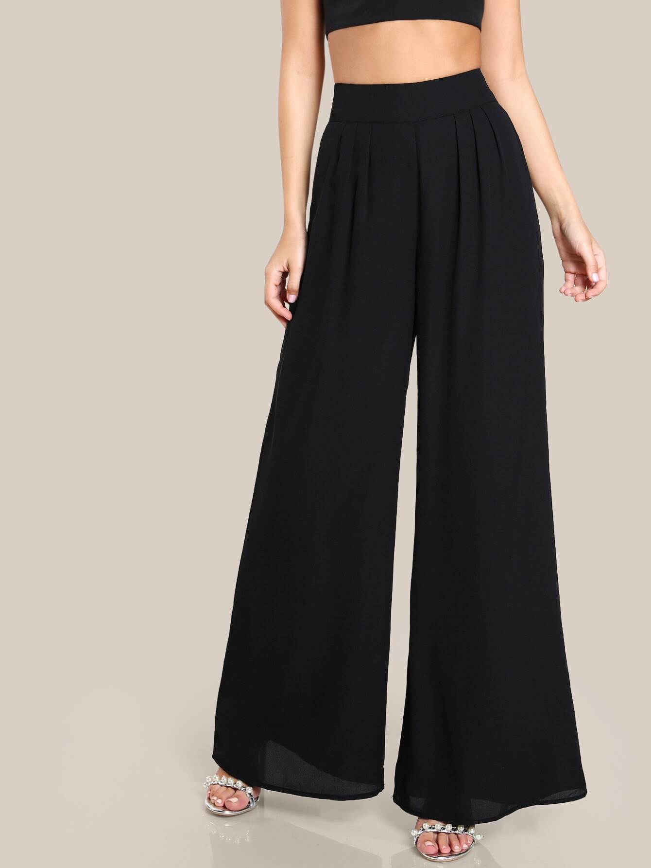 box pleated palazzo pants sheinsheinside