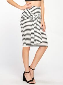 Tie Waist Striped Pencil Skirt