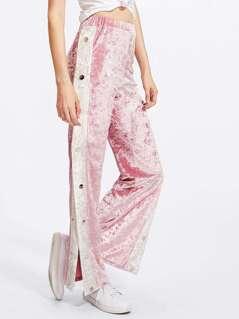 Contrast Buttoned Side Crushed Velvet Pants