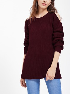 Asymmetric Cutout Shoulder Jumper