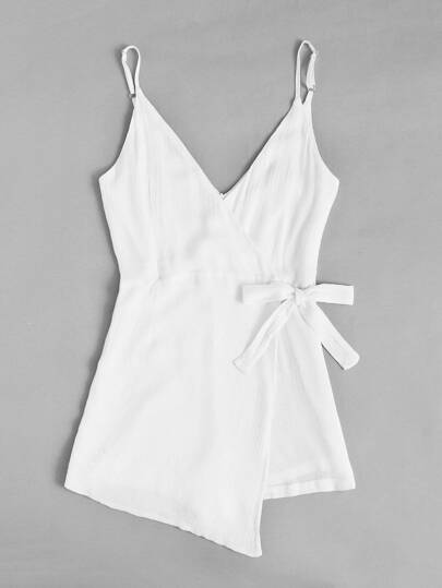 SheIn / Surplice Knot Side Pleated Cami Romper