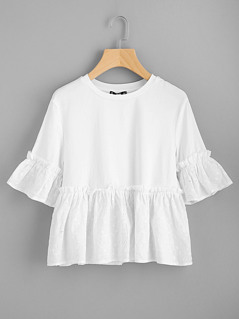 Eyelet Embroidery Flounce Trim Mixed Media Tee