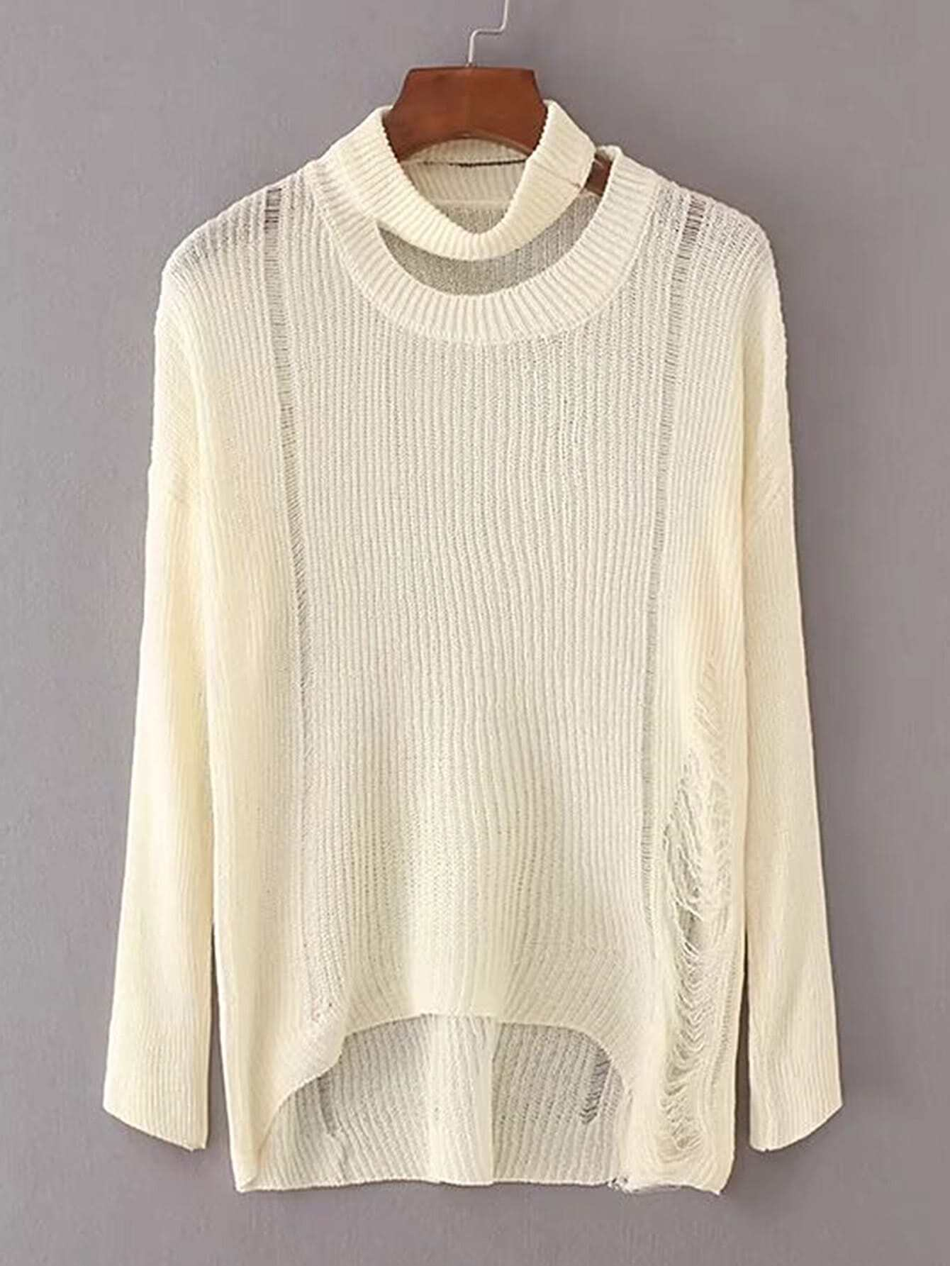 Choker Neck Ripped Detail High Low Knitwear sweater170719202