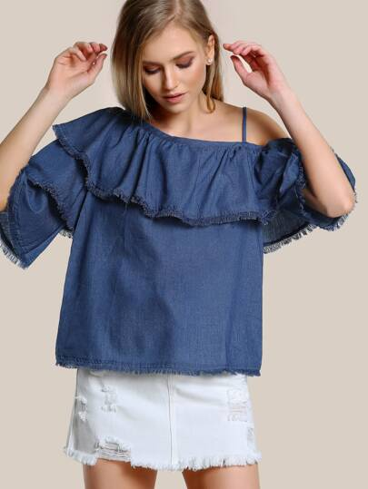 Frayed Hem Layered Sleeve Top CHAMBRAY