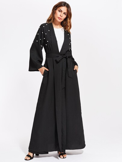 Pearl Embellished Self Belt Abaya