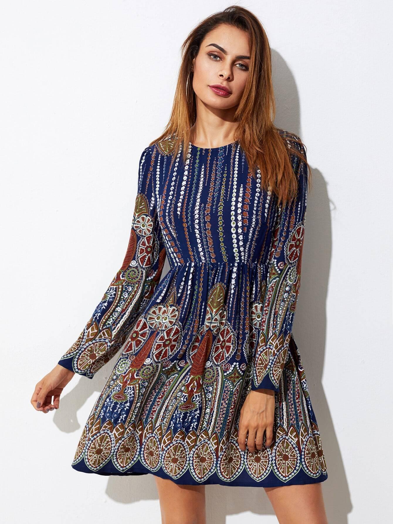Ornate Print Smock Dress corduroy babydoll smock dress
