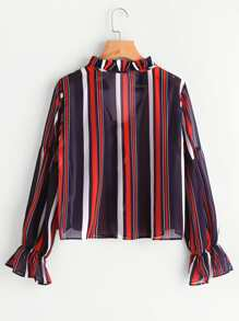 Frill Collar Tie Detail Striped Chiffon Blouse pictures