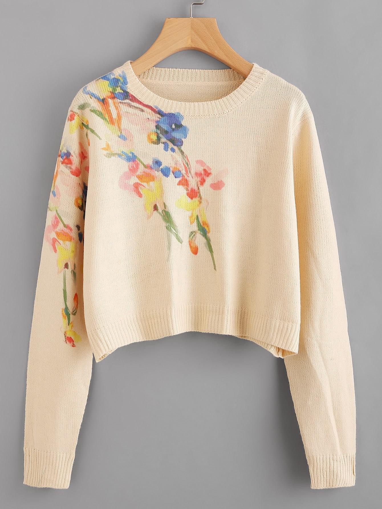 Flower Print Crop Jumper sweater170710474