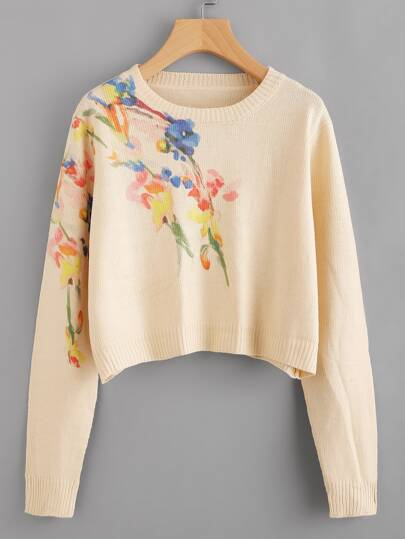 Flower Print Crop Jumper