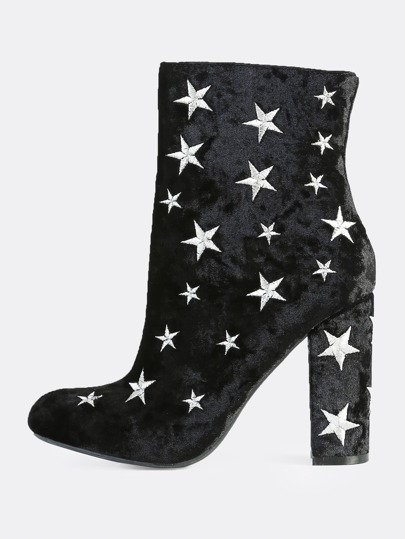 Star Embroidered Velvet Booties BLACK
