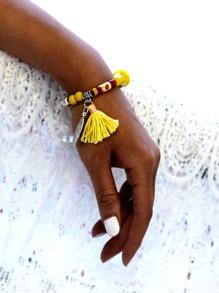 Tassel & Leaf Detail Beaded Bracelet