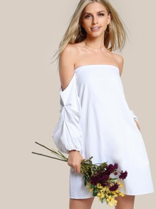 Off Shoulder Bardot Sleeve Solid Dress WHITE