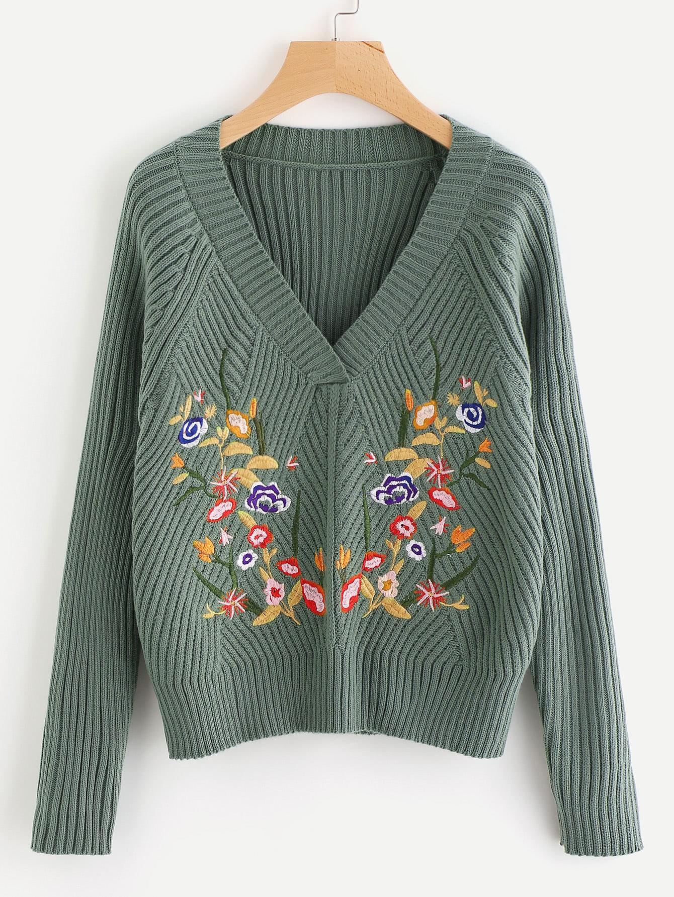 Rib Knit Raglan Sleeve Embroidered Jumper sweater170728452