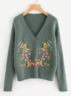 Rib Knit Raglan Sleeve Embroidered Jumper