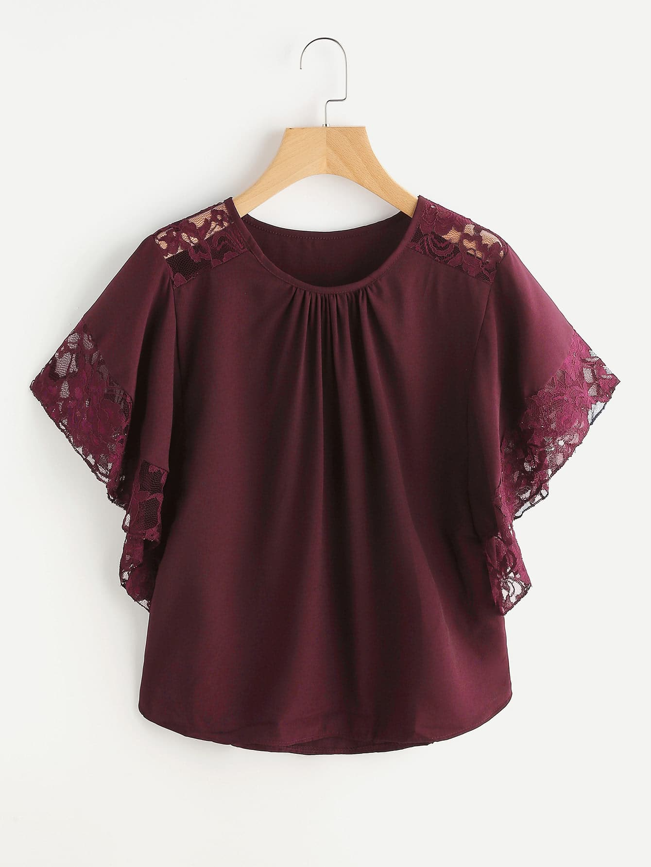 Floral Lace Insert Butterfly Sleeve Blouse lace insert floral blouse