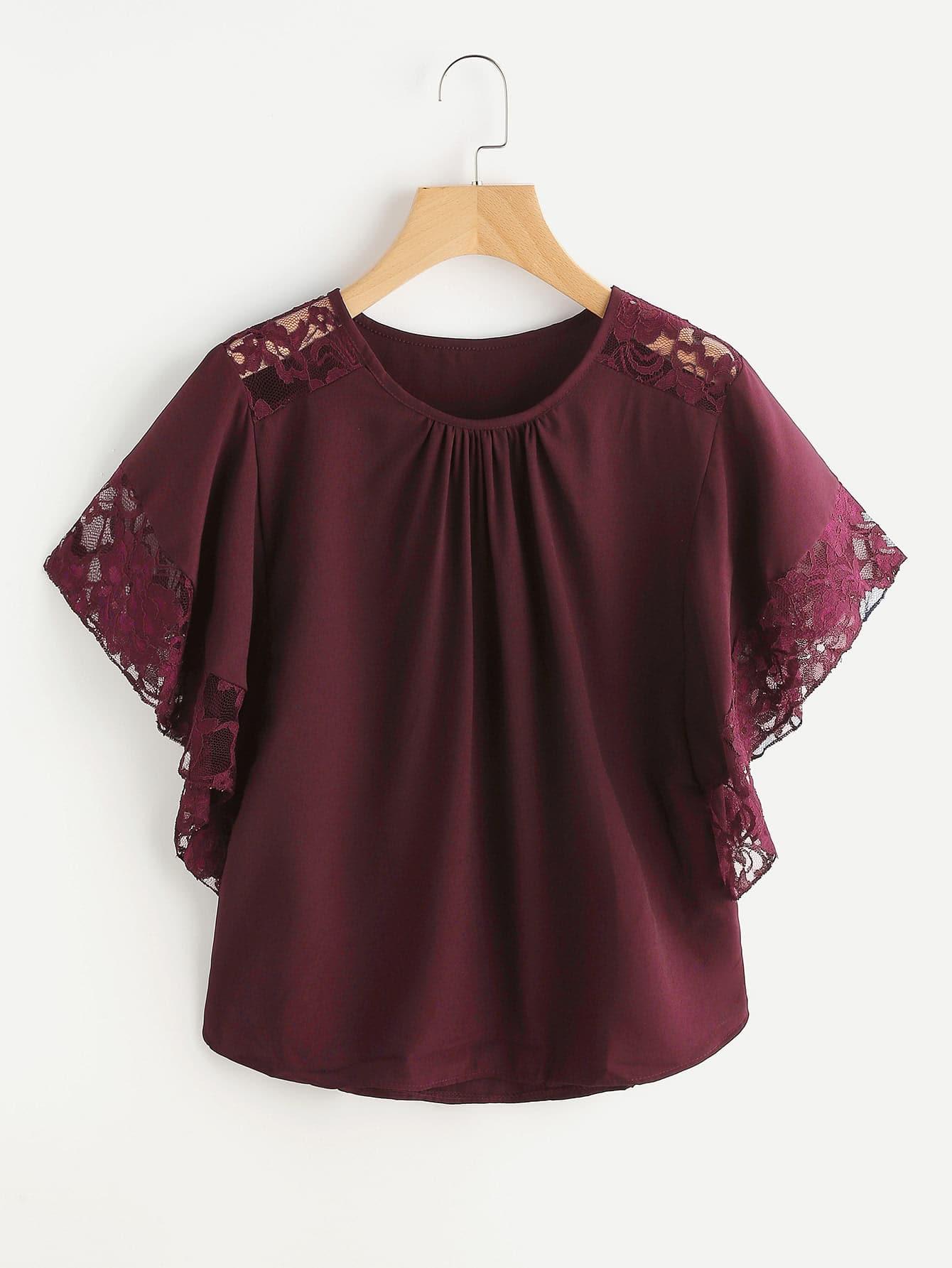 Фото Floral Lace Insert Butterfly Sleeve Blouse. Купить с доставкой