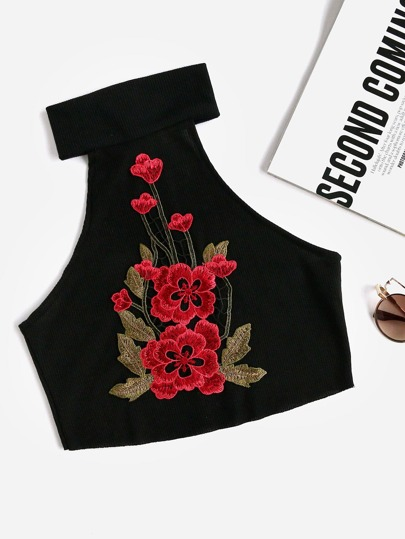 Ribbed Crop Halter Top With Embroidered Applique