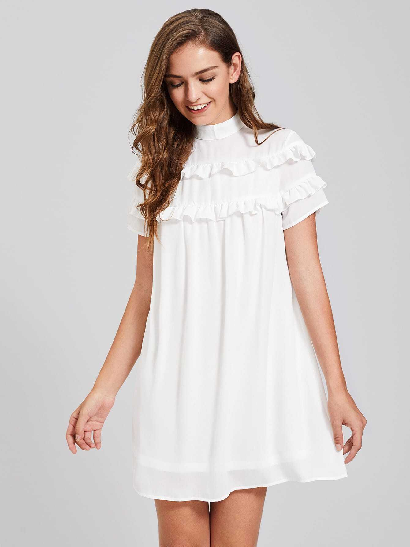 Band Collar Frill Detail Dress pearl detail frill off shoulder dress