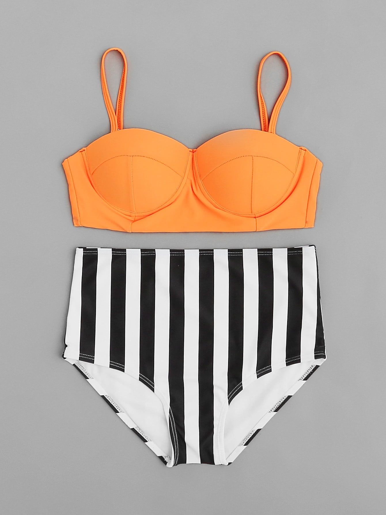 Vertical Striped High Waist Bustier Bikini Set vertical striped bedding set