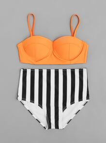 Vertical Striped High Waist Bustier Bikini Set