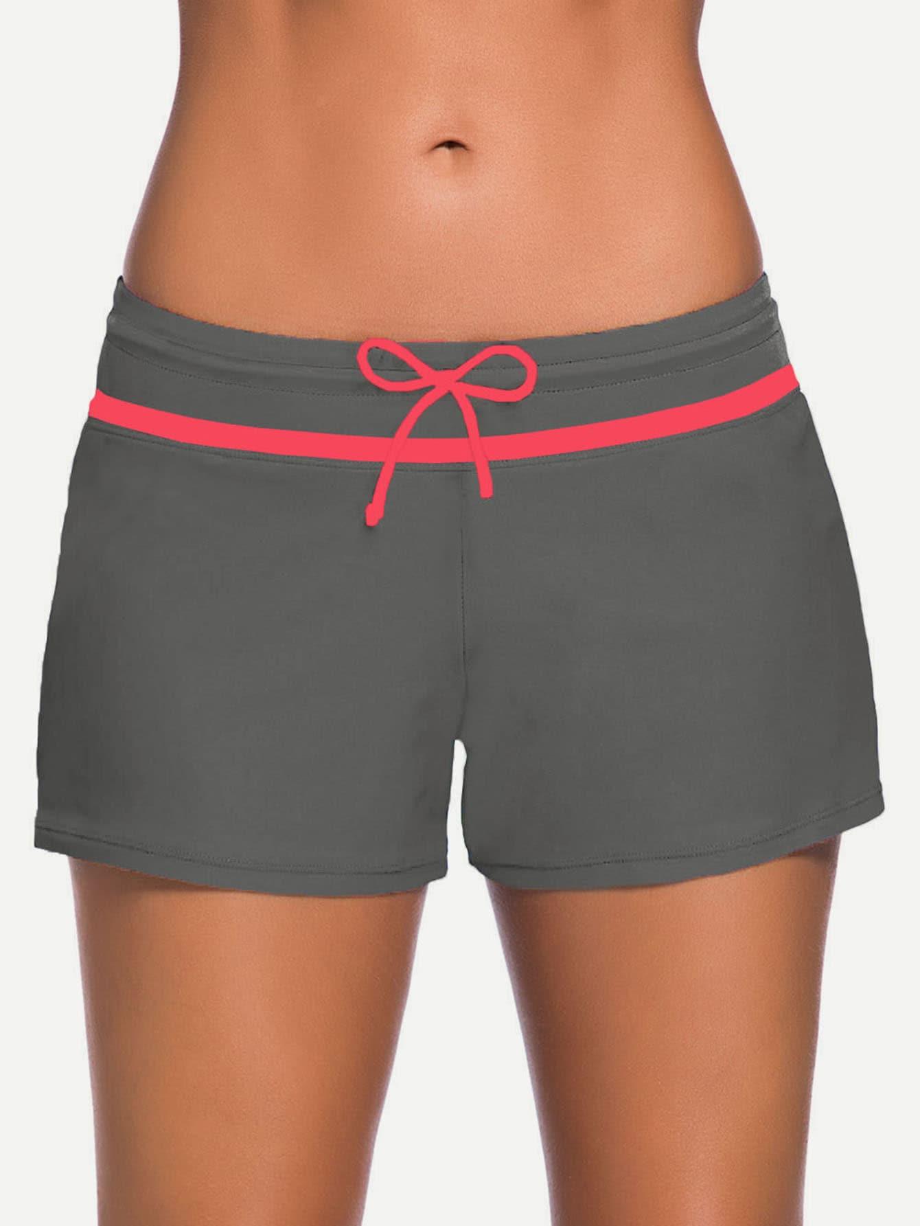 Фото Contrast Trim Side Slit Drawstring Swim Shorts. Купить с доставкой