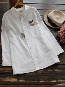 Fox Embroidered Shirt With Chest Pocket