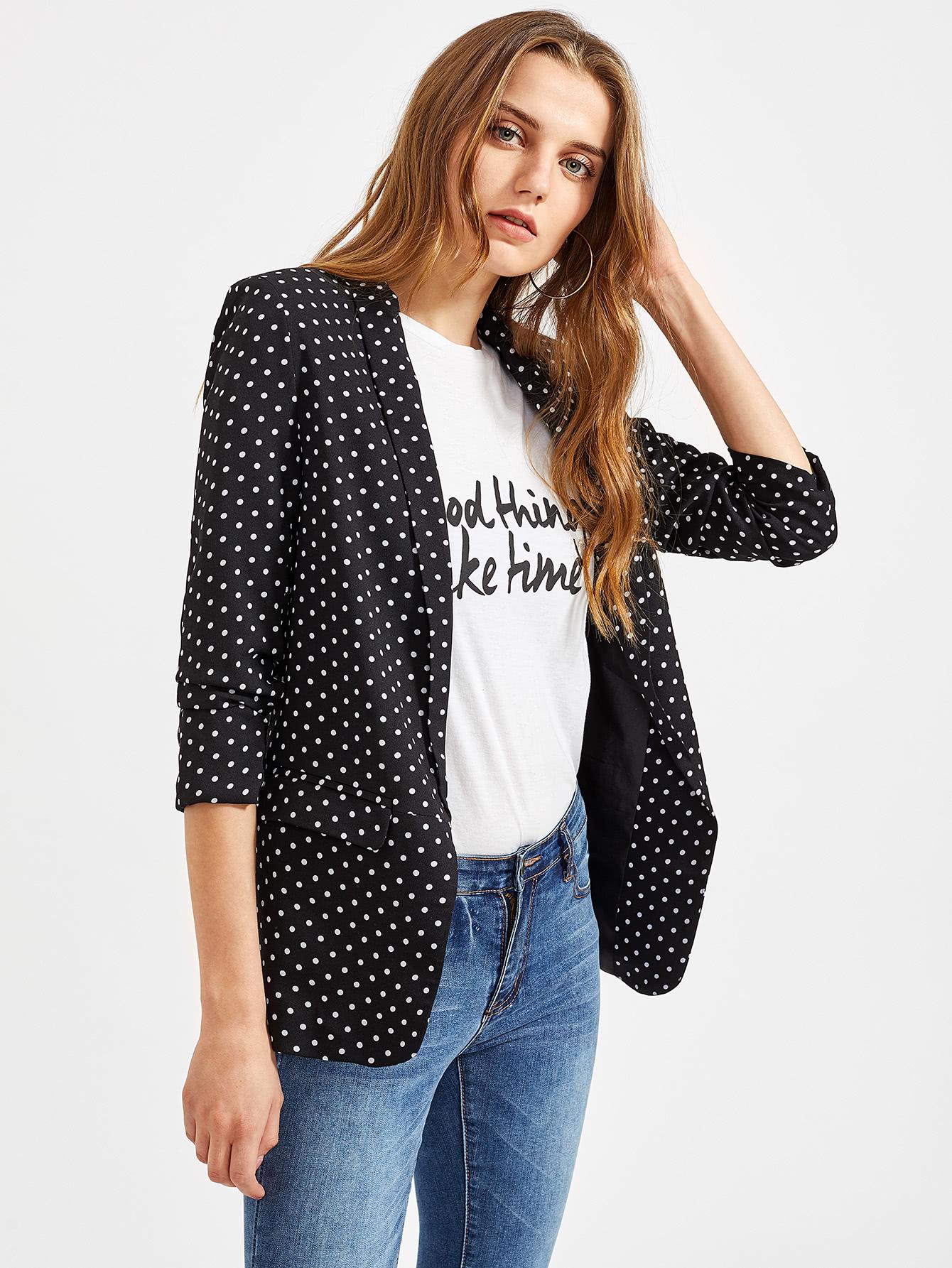 Купить Стильный черный пиджак в белый горошек, Dashaa, SheIn