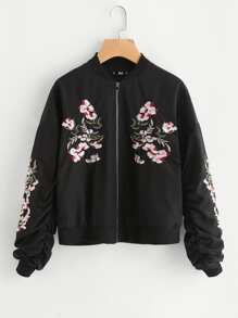 Flower Embroidered Shirred Sleeve Jacket