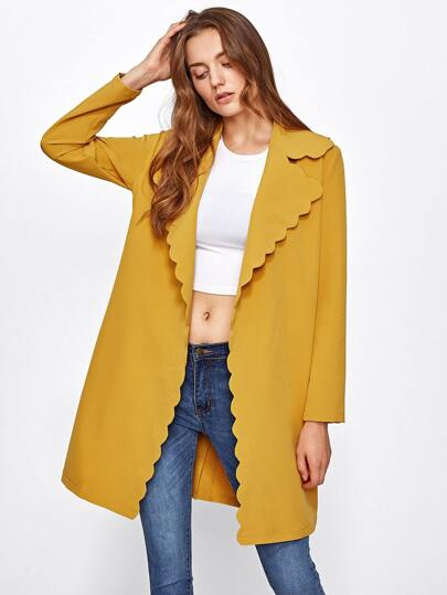 Scallop Trim Self Belt Coat