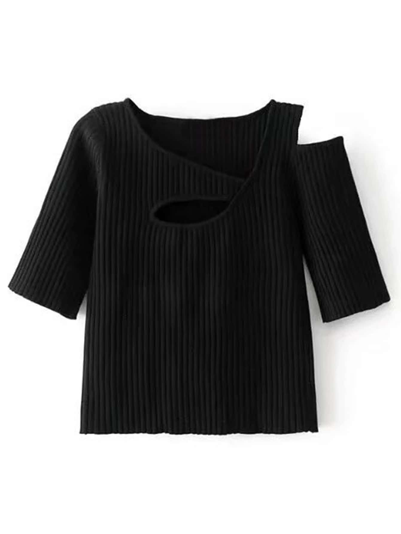 Cut Out Shoulder Ribbed Knitwear