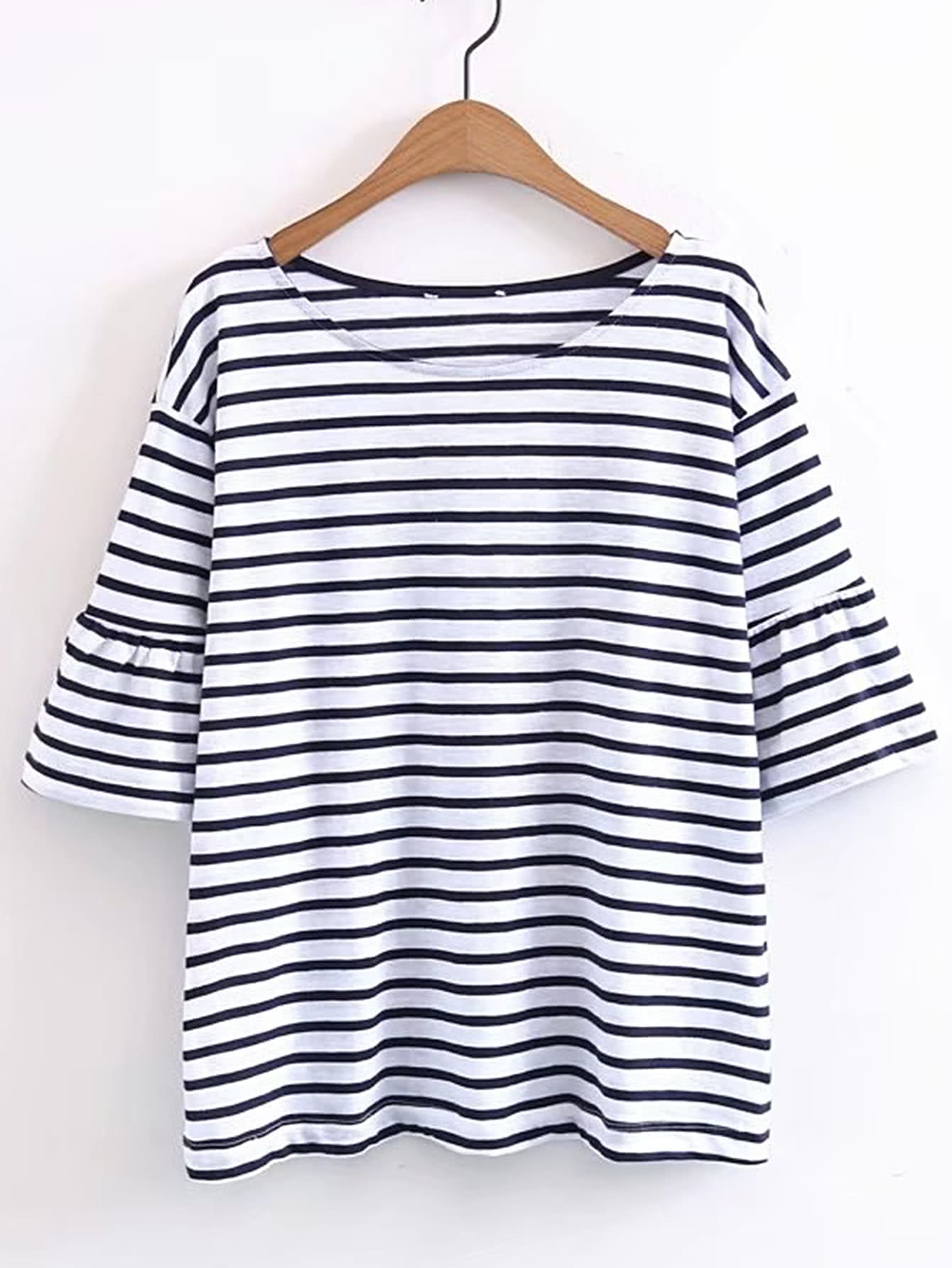 Фото Contrast Striped Bell Sleeve Tee. Купить с доставкой
